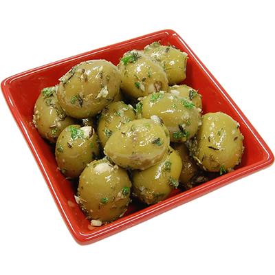Marinoitu valkosipulitäytteinen oliivi